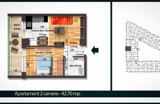 Apartament 2 Camere B 42
