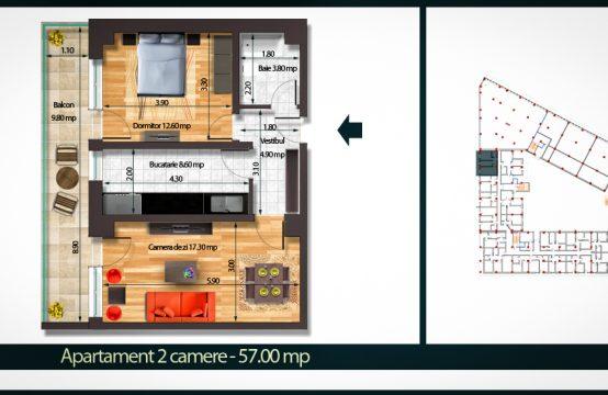Apartament 2 Camere B 57