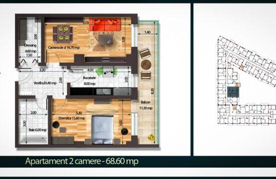 Apartament 2 Camere B 68
