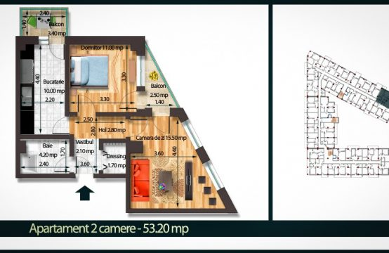 Apartament 2 Camere C 53
