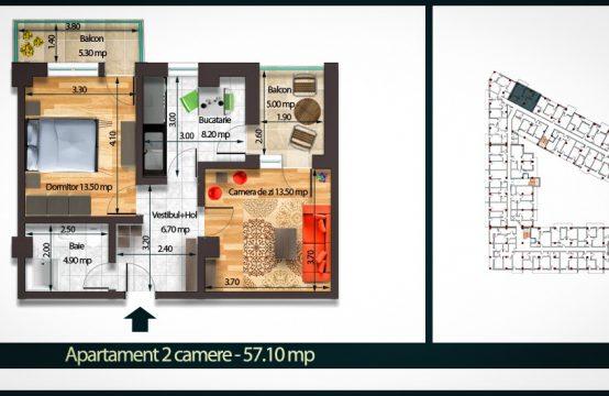 Apartament 2 Camere C 57