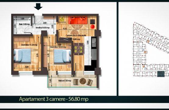 Apartament 3 Camere A 56