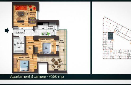 Apartament 3 Camere B 76