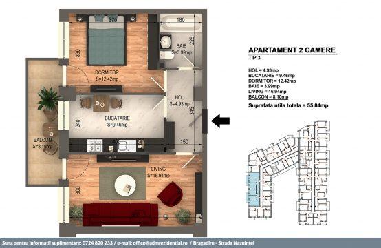 Apartament 2 camere in Bragadiru langa Bucuresti