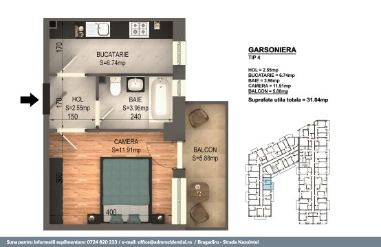 Garsoniera Bragadiru – Bloc 4 – 31,04 mp – Tip 04