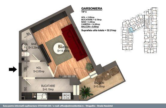 Garsoniera Bragadiru – Bloc 4 – 31,04 mp – Tip 05