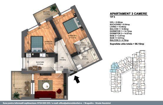 Apartament Bragadiru 3 camere – Bloc 4 – 86,15 mp – Tip 06