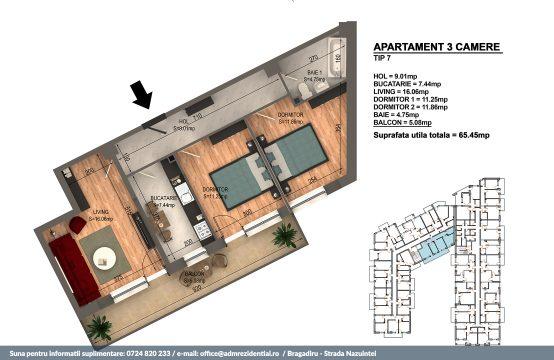 Apartament Bragadiru 3 camere – Bloc 4 – 65.45 mp – Tip 07