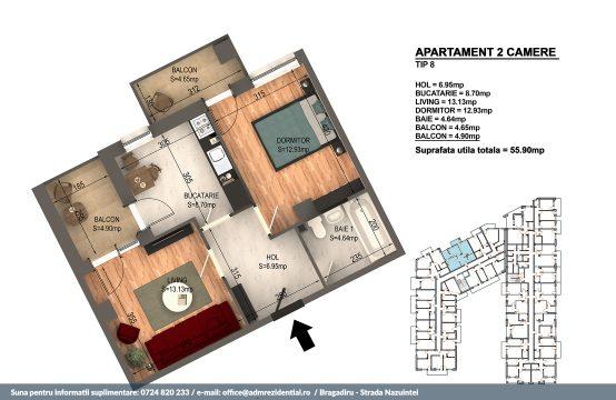 Apartament Bragadiru 2 camere – Bloc 4 – 55,9 mp – Tip 08