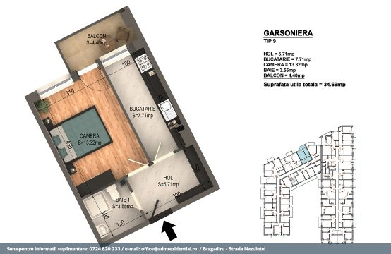 Garsoniera Bragadiru – Bloc 4 – 34,69 mp – Tip 09