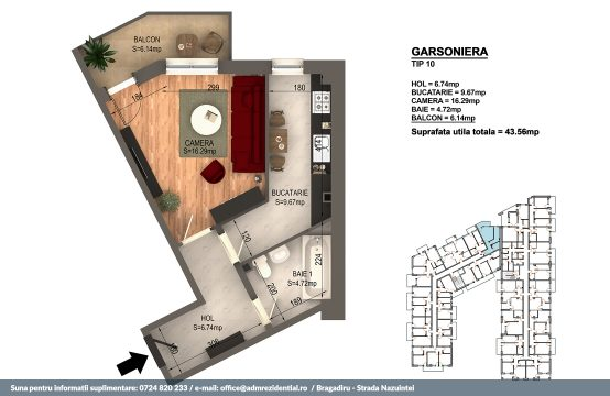 Garsoniera Bragadiru – Bloc 4 – 43,56 mp – Tip 10