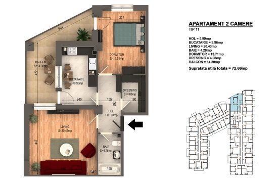 Apartament Bragadiru 2 camere – Bloc 4 – 72,66 mp – Tip 11
