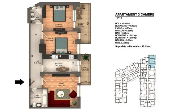 Apartament Bragadiru 3 camere – Bloc 4 – 90,13 mp – Tip 12
