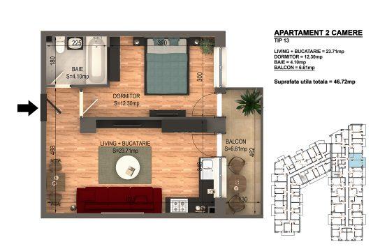 Apartament Bragadiru 2 camere – Bloc 4 – 46,72 mp – Tip 13