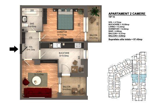 Apartament Bragadiru 2 camere – Bloc 4 – 57,43 mp – Tip 15