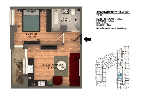 Apartament Bragadiru 2 camere – Bloc 4 – 43,58 mp – Tip 16