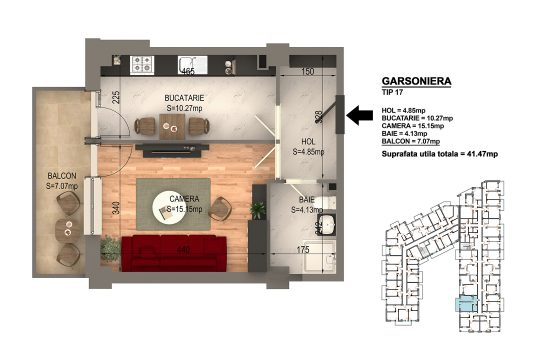 Garsoniera Bragadiru – Bloc 4 – 41,47 mp – Tip 17