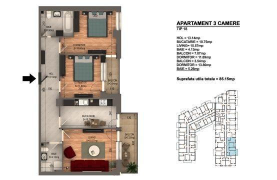Apartament Bragadiru 3 camere – Bloc 4 – 85,15 mp – Tip 18
