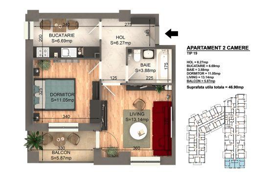 Apartament Bragadiru 2 camere – Bloc 4 – 46,9 mp – Tip 19