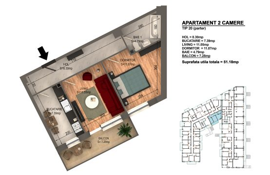 Apartament Bragadiru 2 camere – Bloc 4 – 51,18 mp – Tip 20 parter
