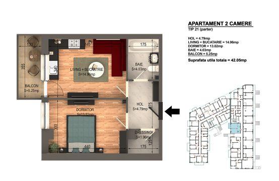 Apartament Bragadiru 2 camere – Bloc 4 – 42,05 mp – Tip 21 parter